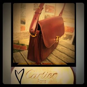 Vintage CARTIER Bordeaux Leather Logo Shoulder Bag